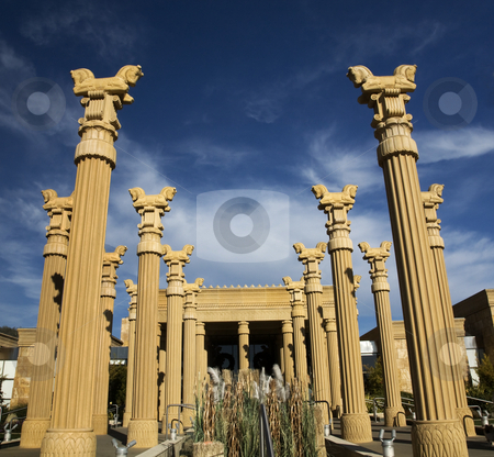 Daroush Vineyard Napa California stock photo, Daroush Vineyard Napa Vineyards California  Owner of Daroush is from Iran and winery is designed like Persopolis in Ancient Persia by William Perry