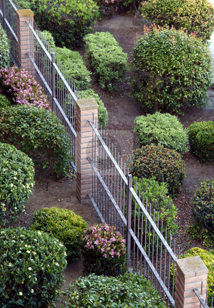 View of manicured bushes and fence stock photo, Aerial view of manicured bushes and brick and wrought iron fence by Jill Reid