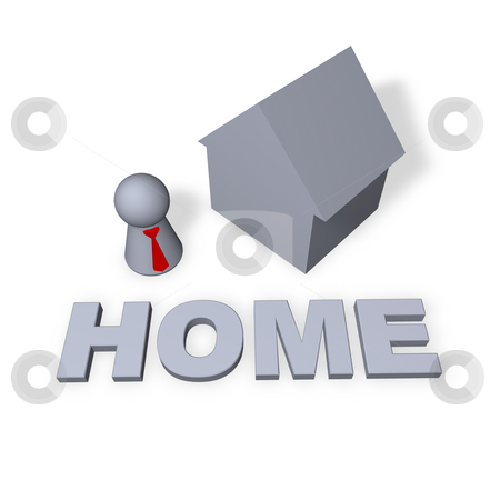 Home stock photo, Home text in 3d, a house and play figure with red tie by J?