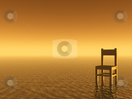 Lonely stock photo, Wooden chair in a water landscape - 3d illustration by J?