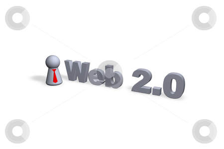 Web 2.0 stock photo, Web 2.0 text in 3d and play figure with red tie by J?