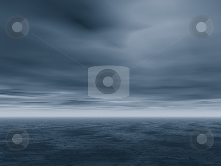 Storm stock photo, Dark blue landscape - before the storm by J?