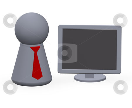 Online business stock photo, Computer monitor and play figure with red tie by J?