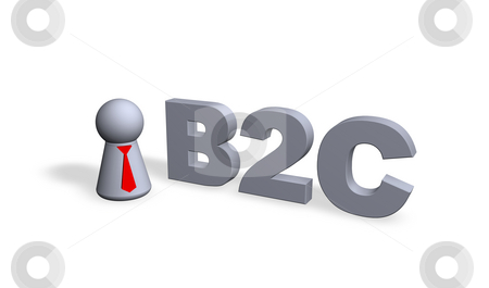 B2c stock photo, B2c text in 3d and play figure with red tie by J?