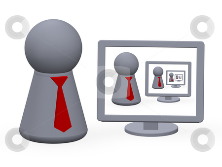 Infinitely stock photo, Computer monitor and ply figure with red tie by J?