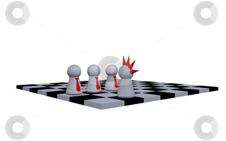 Freak chess stock photo, Play figures businessmen and punk on a chessboard by J?