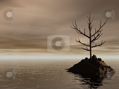 Lonely stock photo, Lonely rock in the dark ocean by J?