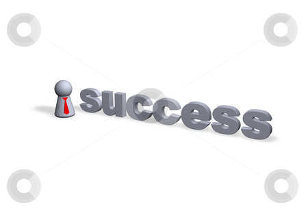 Success stock photo, Success text in 3d and play figure with red tie by J?