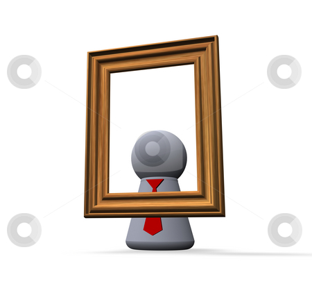 Self portrait stock photo, Play figure and wooden pictureframe by J?
