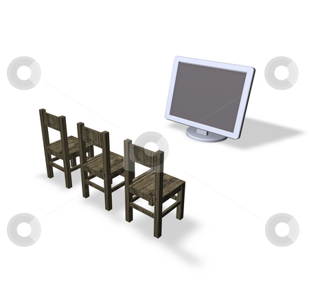 Presentation stock photo, Three chairs and a computer monitor by J?