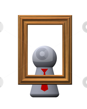 Portrait stock photo, Play figure with red tie and pictureframe by J?