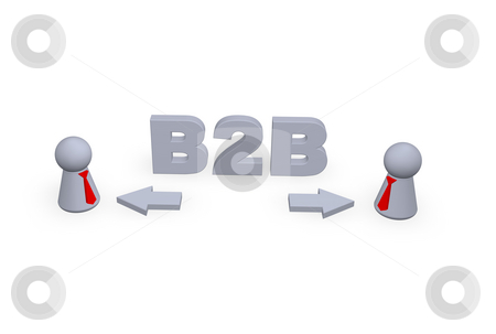B2B stock photo, B2B text in 3d, pointers and two play figures with red tie by J?
