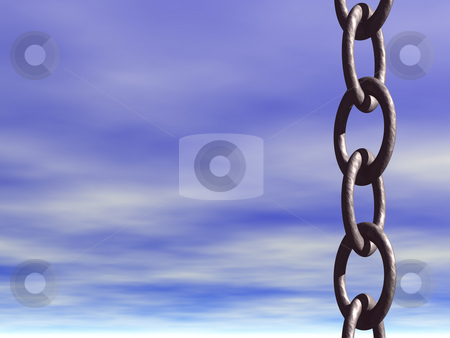 Liberty stock photo, Iron chains and blue sky by J?