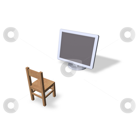 Demonstration stock photo, Wooden chair and a computer monitor by J?