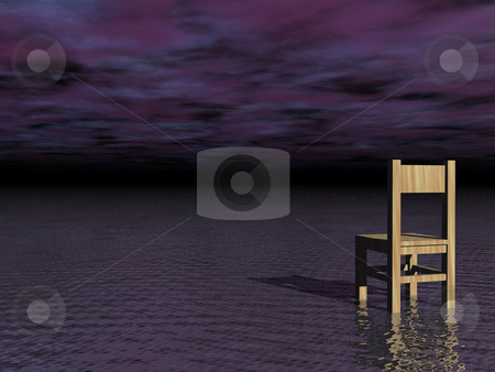 Surreality stock photo, Lonely wooden chair at the ocean and dark sky by J?