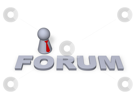 Forum stock photo, Forum text in 3d and play figure with red tie by J?