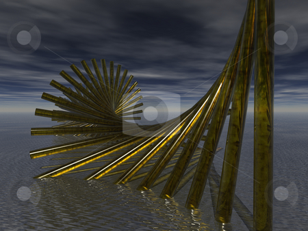Water world 2 stock photo, Strange dark water landscape with spiral by J?