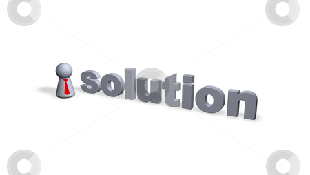 Solution stock photo, Solution text in 3d and play figure with red tie by J?