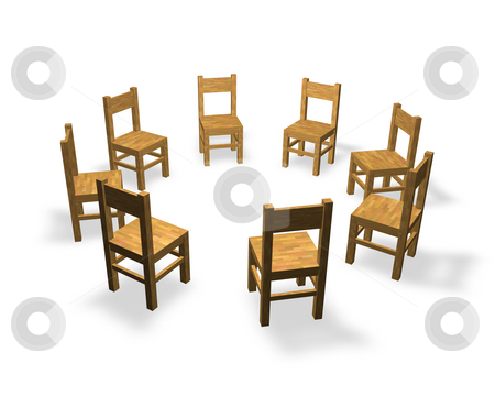 Discussion stock photo, 8 chairs are located in the circle by J?