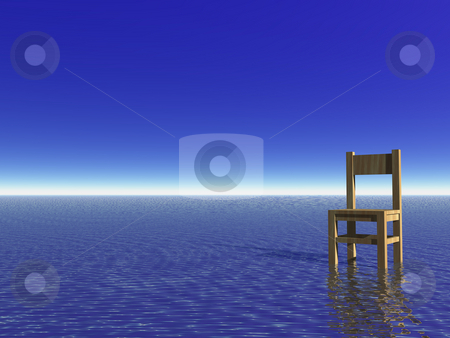 Waiting stock photo, Chair in the water and blue sky by J?