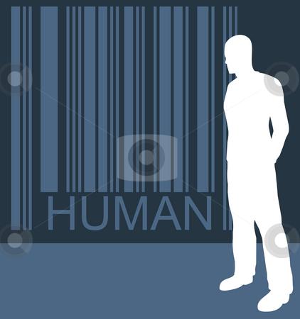 Human stock photo, Barcode human and waiting man by J?