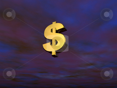 Dollar stock photo, 3d dollar sign on a dark sky by J?