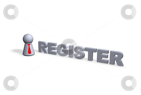 Register stock photo, Register text in 3d and play figure with red tie by J?