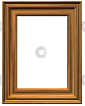 Pictureframe stock photo, Wooden pictureframe on white background by J?