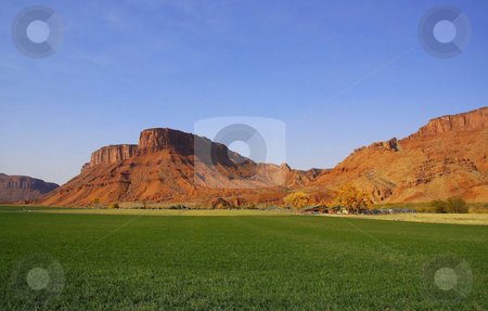 Redrock Farm 8 stock photo, View of a farm in the  desert with hay in the foreground and a red rock mountain  in the background with blue sky by Mark Smith