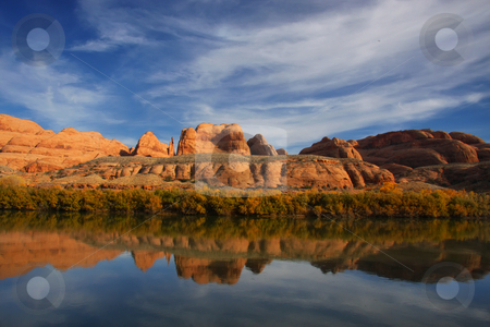 Colorado River stock photo, View of the red rock formations in Canyonlands National Park with blue sky by Mark Smith