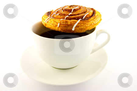 Cinnamon Bun and Cup of Tea stock photo, Single cinnamon bun and cup of tea with clipping path on a white background by Keith Wilson