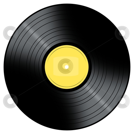 Music Record stock photo, Vinyl Record with a color center on a white background. by Henrik Lehnerer