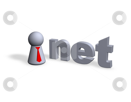 Net domain stock photo, Play figure with red tie and net text in 3d by J?