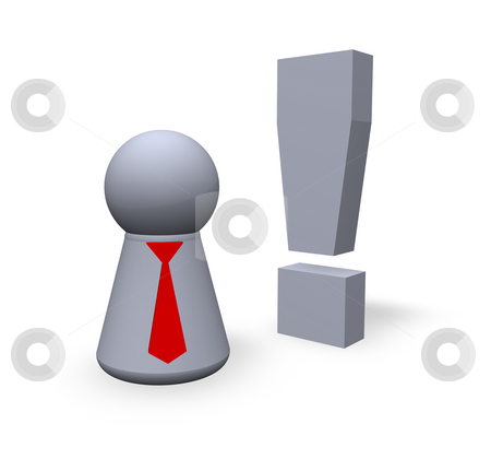 Attention stock photo, Attention symbol in 3d and play figure with red tie by J?