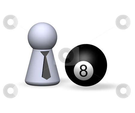 Eight stock photo, Billiard - eightball and play figure with red tie by J?