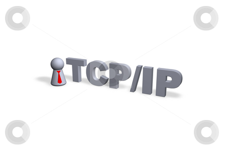 Tcp/ip stock photo, TCP/IP text in 3d and play figure with red tie by J?