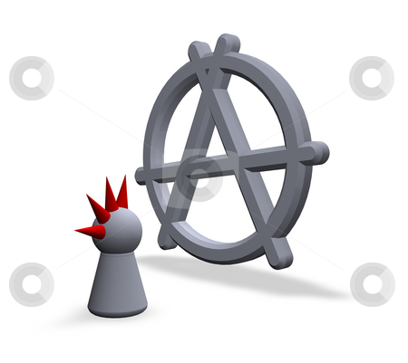 Anarchy stock photo, Anarchy symbol in 3d and play figure punk wit red hair by J?