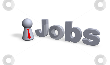 Jobs stock photo, Jobs text in 3d and play figure businessman by J?