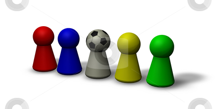 Soccer head stock photo, Play figures - multicolored and a soccerhead by J?