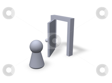 Come in stock photo, Play figure and  open door by J?
