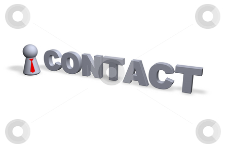 Contact stock photo, Contact text in 3d and play figure with red tie by J?
