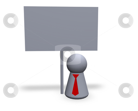Blank sign stock photo, Play figure with red tie and blank sign by J?