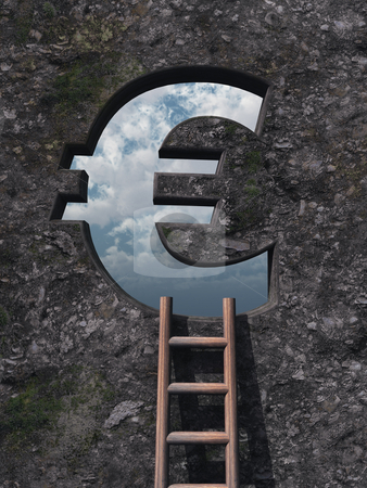 Success stock photo, Ladder on wound with euro hole - 3d illustration by J?