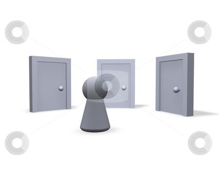 Think about stock photo, Play figure and three closed doors by J?