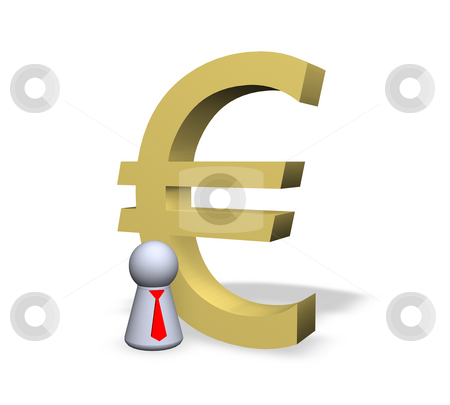 Euro stock photo, Euro symbol and play figure businessman with red tie by J?