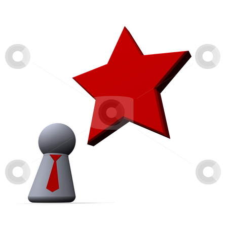 Revolution stock photo, Red  star and play figure with red tie by J?