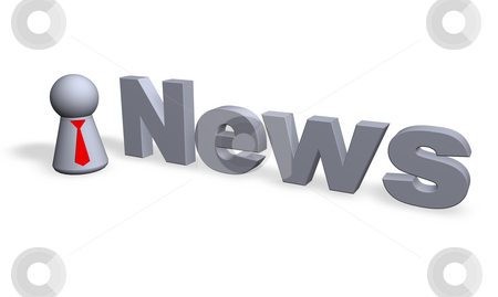 News stock photo, News text in 3d and play figure with red tie by J?
