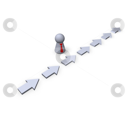 Direction stock photo, Play figure businessman and pointers by J?