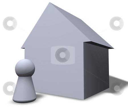 House stock photo, Play figure and a house by J?