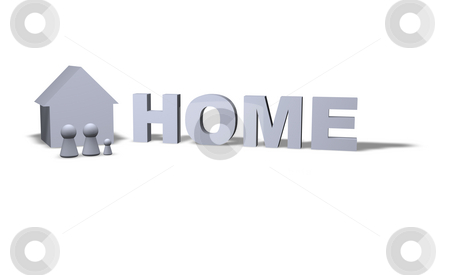 Home stock photo, Home text in 3d and play figures family with house by J?